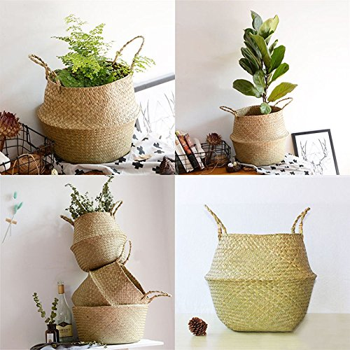 RISEON Natural Seagrass Belly Basket Panier Storage Plant Pot Collapsible Nursery Laundry Tote Bag with Handles (13