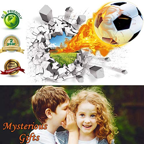 Soccer Wall Decals 3D Flame Soccer Ball Wall Decor Art Removable Vinyl Soccer Wall Stickers Football Sports Wall Murals Decorations Basketball Décor Poster as Birthday Gifts Kids' Rooms and ()