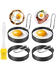 Egg Ring, ENLOY 4 Pack Stainless Steel Egg Ring Molds With Non Stick Metal Shaper Circles for Fried Egg McMuffin Sandwiches, Egg Maker Molds, Set of 4