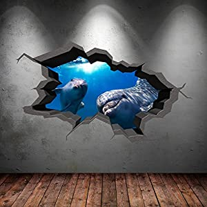 Underwater Cracked Cave Aquarium Dolphin Fish 3d Wall Art