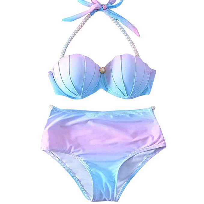 6defdb4a4c9 Amazon.com: YAOYUE-US Womens Mermaid Shell Bikini Sets Pearl Strap Halter  Padded Push-up Swimsuit Beachwear: Clothing