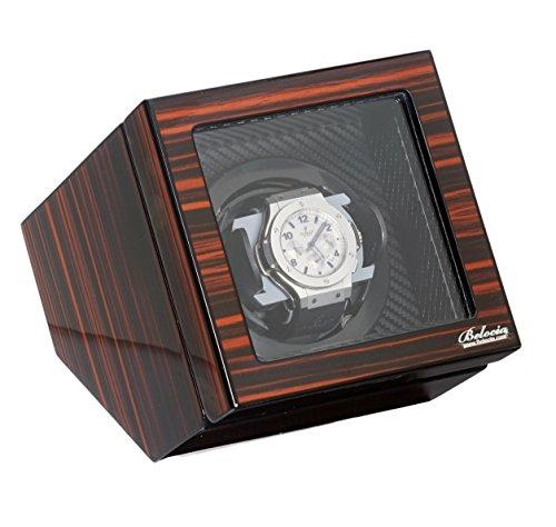 Polished Ebony Single Watch Winder W/Japanese Mabouchi Motor & Zargler (Kubic Single)