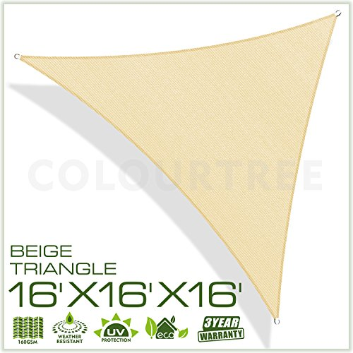 ColourTree 2nd Gen 16' x 16' x 16' Beige Sun Shade Sail Triangle Canopy – UV Resistant Heavy Duty Commercial Grade Outdoor Patio Carport (Custom Size Available) by ColourTree