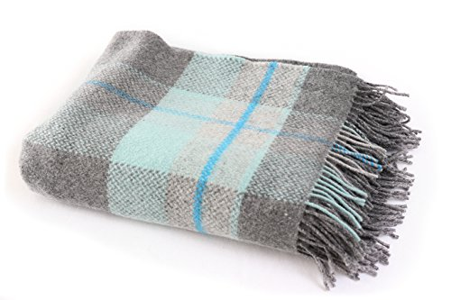 "Biddy Murphy Merino Wool Blanket Supersoft & Warm 71"" Long by 54"" Wide Fringed Grey & Teal Plaid Blanket Made in Ireland"