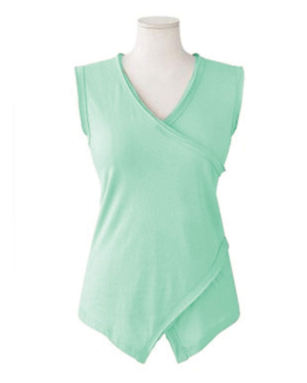 Shetao Summer New Womens Solid Color Irregular Sleeveless Shirt Womens T-Shirt