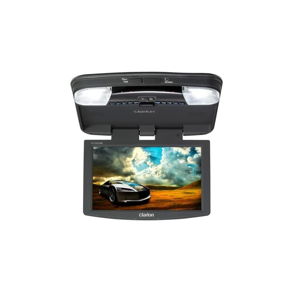 Clarion VT1010B 10.2 Inch Digital TFT LCD Widescreen Overhead Monitor with USB, SD CARD, and DVD Player  Vehicle Overhead Video