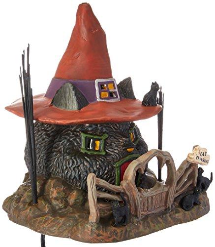 (Department 56 Snow Village Halloween Black Cat Shack Lit House, 7.88