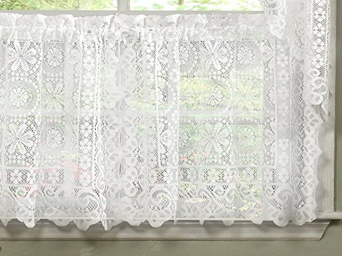 Sweet Home Collection Old World Style Floral Heavy Lace Kitchen Curtain, 36