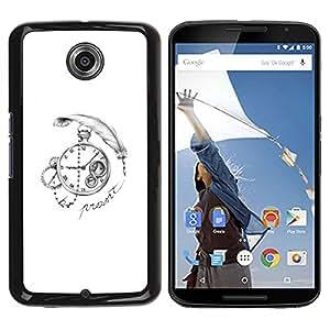 Caucho caso de Shell duro de la cubierta de accesorios de protección BY RAYDREAMMM - Motorola NEXUS 6 / X / Moto X Pro - Write Watch White Black