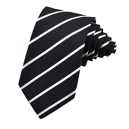 White Black Stripe Silk Necktie (PenSee Mens Tie Jacquard Woven Silk Casual Fashion Stripes Necktie -Various Colors (Black & White))