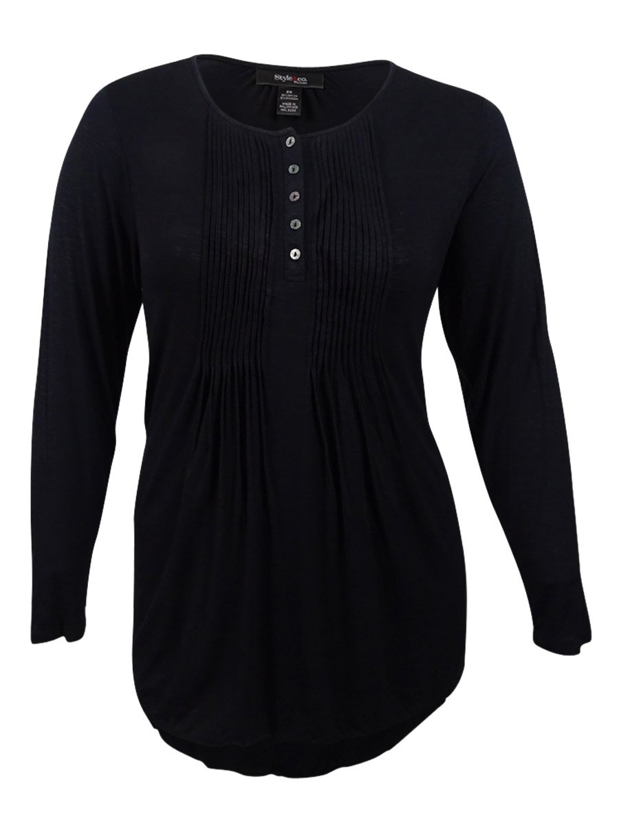 Style & Co.. Womens Plus Pintuck Long Sleeves Henley Top Black 3X by Style & Co.