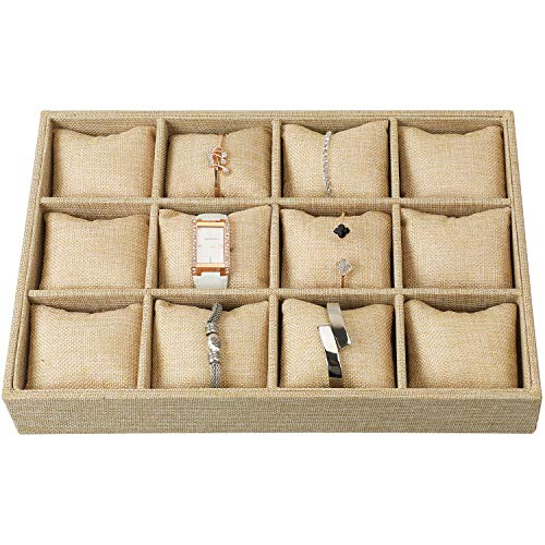 Watch Jewelry Tray Organizer Showcase Display Box Holder Storage Stackable Sackcloth Burlap Linen 12 Grid Pillows for Watches -