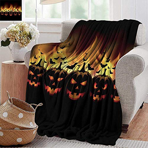 Gravity blanket,Vintage Halloween,Happy Halloween Image with Jack o Lanterns on Fire with Bats Holiday,Black Scarlet,all seasons Anti-Static Couch Blanket Travelling Camping Blanket 50