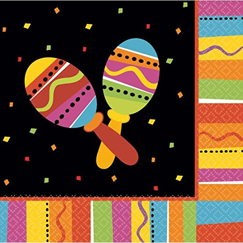 """Price comparison product image Fiesta Fun Cinco de Mayo Party 2-Ply Lunch Napkins Tableware,  Paper,  6"""" x 6"""", Pack of 16"""