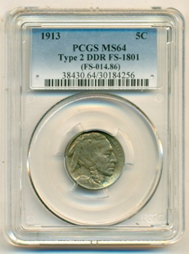 1913 Buffalo Type 2 DDR Variety FS-1801 Nickel MS64 PCGS