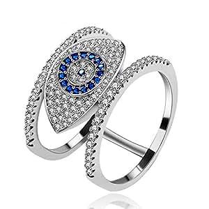 Uloveido Fashion Pave Round Cubic Zirconia CZ Cluster Blue Evil Eye Illuminati Rings for Women Girls (Size 6) Y325B