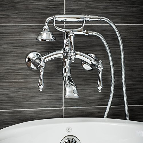 (Luxury Clawfoot Tub or Freestanding Tub Filler Faucet, Vintage Design with Telephone Style Hand Shower, Wall Mount Installation, Lever Handles, Polished Chrome Finish)