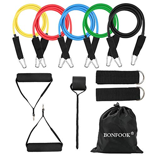 - Health-Made 12pcs Resistance Bands Set,Double-Layered Link,Include 5 Stackable Exercise Bands,Manual Guidance,Waterproof Bag,Handles,Door Anchor and Ankle Straps for Home Workouts,Physical Therapy