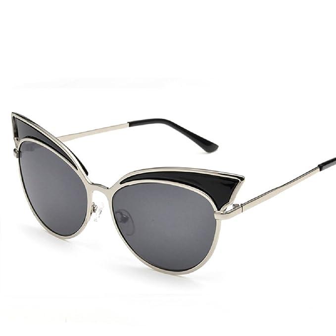 Embry Forma Mode gato ojos gafas de sol polarizadas for Mujer reflectantes Espejo negro A Anchura