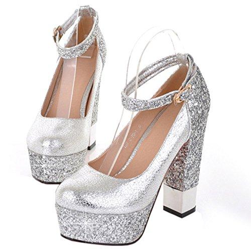 ENMAYER Damen Pleuche Glitter PU Material Knöchelriemen Plattform Heels Ankel Stiefel Silber