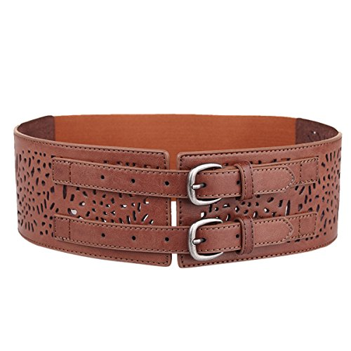 Herebuy - Vintage Leather Elastic Waist Belt Fashion Wide Belts for Women (Brown)