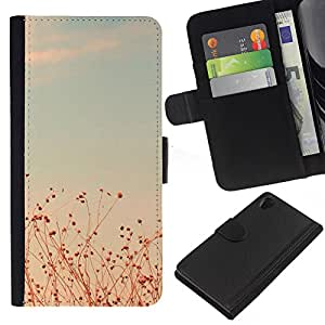 iBinBang / Flip Funda de Cuero Case Cover - Summer Sunset Teal Fields Sky Warm - Sony Xperia Z2 D6502 D6503 D6543 L50t