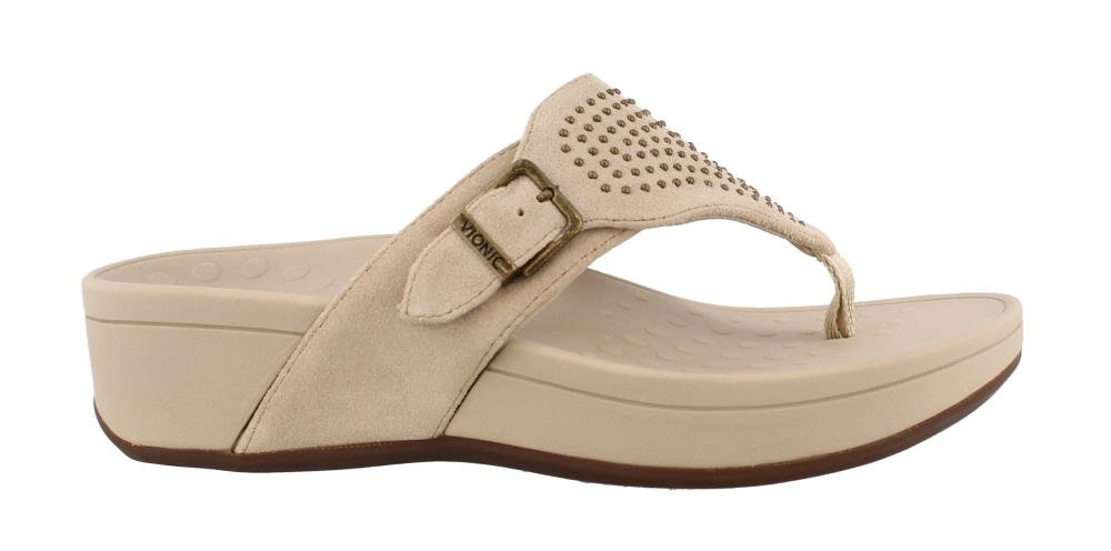 Vionic Women's, Pacific Capitola Thong Style Sandals Taupe 8 M