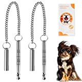 Dog Whistle, Professional Dog Training Tools to Stop Barking Adjustable Frequency Ultrasonic Pure Copper Dog Training Whistles, 2 Pack & a Dog Training Instruction Manual