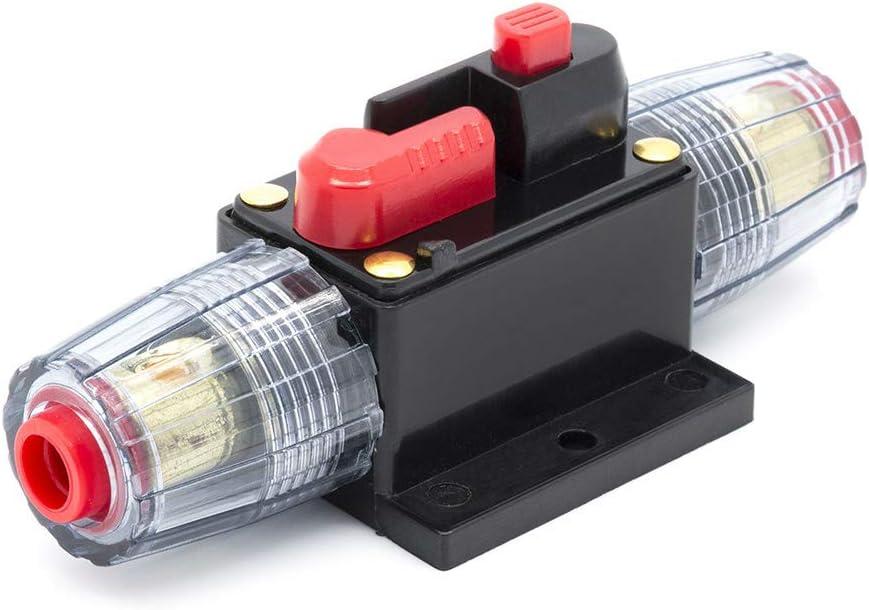 protection du syst/ème inverseur audio 12 V DC 60A disjoncteur en ligne avec bouton de r/éinitialisation pour voiture voiture et bateau Porte-fusible 40 A//60 A//80 A//100 A bateau