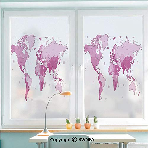 "RWNFA No Glue Static Cling Glass Sticker Cute World Map Continents Island Land Pacific Atlas Europe America Africa Decorative Decorative,22.8"" x 35.4"" for Home&Office,White Light Pink"