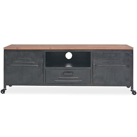 Tavolino Porta Tv Con Ruote.Festnight Mobile Porta Tv 120x30x43 Cm Nero Con Ruote In Acciaio