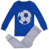 BLUENIDO 100% SUPER SOFT COTTON ''SOCCER BALL'' BOYS 2 PIECE PAJAMA SET Blue,(SIZE 7)