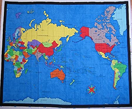 WORLD MAP FABRIC PANEL - NU089 - Cotton - 90 cm x 110 cm - 100 ...