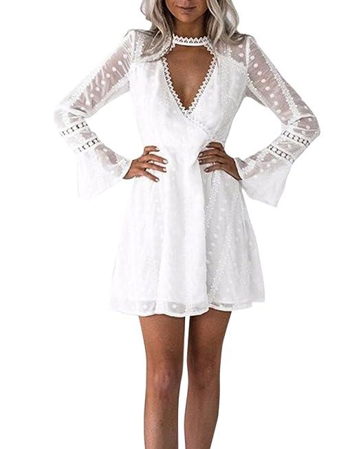Mujer Vestidos De Encaje Cortos Para Fiesta Manga Larga Vestidos De Ceremonia Vestidos De Noche Blanco