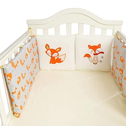 Suitable for Baby Crib Size 120 x 60 cm Muslin Cotton Boys Unisex Urban Kanga Padded Cot Bed Bumper Grey Animals Girls