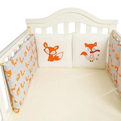 Cuna para bebés Parachoques Toddle Guardería Ropa de cama Ropa de cama Cuna Parachoques Animal lindo Estampado de cuna Cojín para cama Sets 6 piezas ...