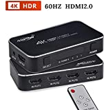 HDMI Switch V2.0, ADPOW 4 in 1 Out High Speed 4K 3D HDMI Switch with IR Remote and AC Power Adapter- Supports 4K 60Hz 1080P