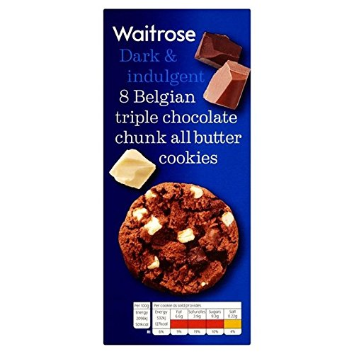 Belgian Triple Choc Chunk Cookies Waitrose 200g (Pack of (Choc Chip Crisp)