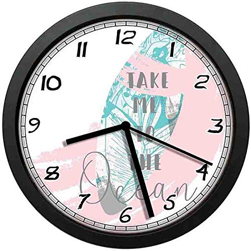 BCWAYGOD Beach Art Wall Clock,Cool Breeze Take Me to The Ocean On Text Surf Board-Non-Ticking Wall Clock Silent Home Decor Battery Operated Clock 10 Inch