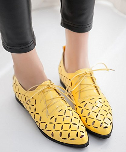 IDIFU Womens Vintage Hollow Out Low Chunky Heels Pointed Toe Lace Up Oxfords Shoes Yellow dr2Cr83uTC