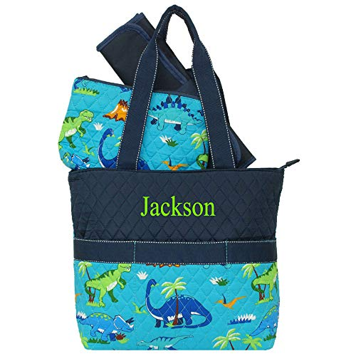 Personalized Dinosaur Navy Diaper Bag | Quilted Infants Baby Diaper Bag with 3 Piece Set | Personalize as Shown