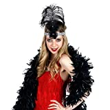 Zucker Feather Products - Black & Silver Flapper Ostrich Headband With Chandelle Boa