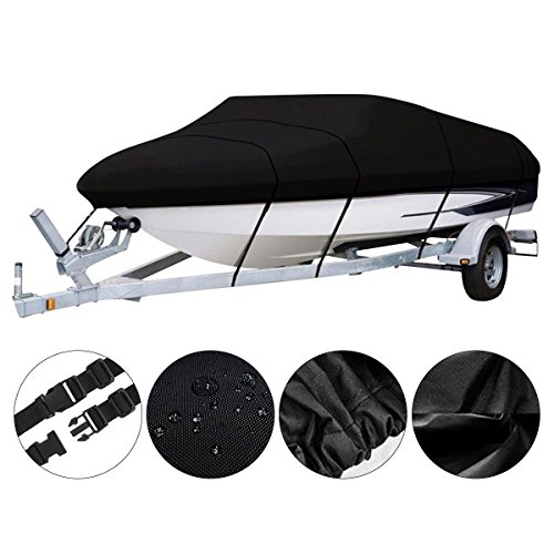 Bass Tracker Boat Cover, Waterproof Fishing Boat Cover w/ Tie Down System, 600 Denier Tri-Hull V-hull Boat Cover for Runabout, Bayliner, Bowrider, Lowe, Ski Boat - Fits 17-19ft Length, 96
