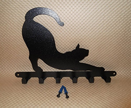 Key Holder. Cat. Handmade in USA. Jet Black Texture Color.