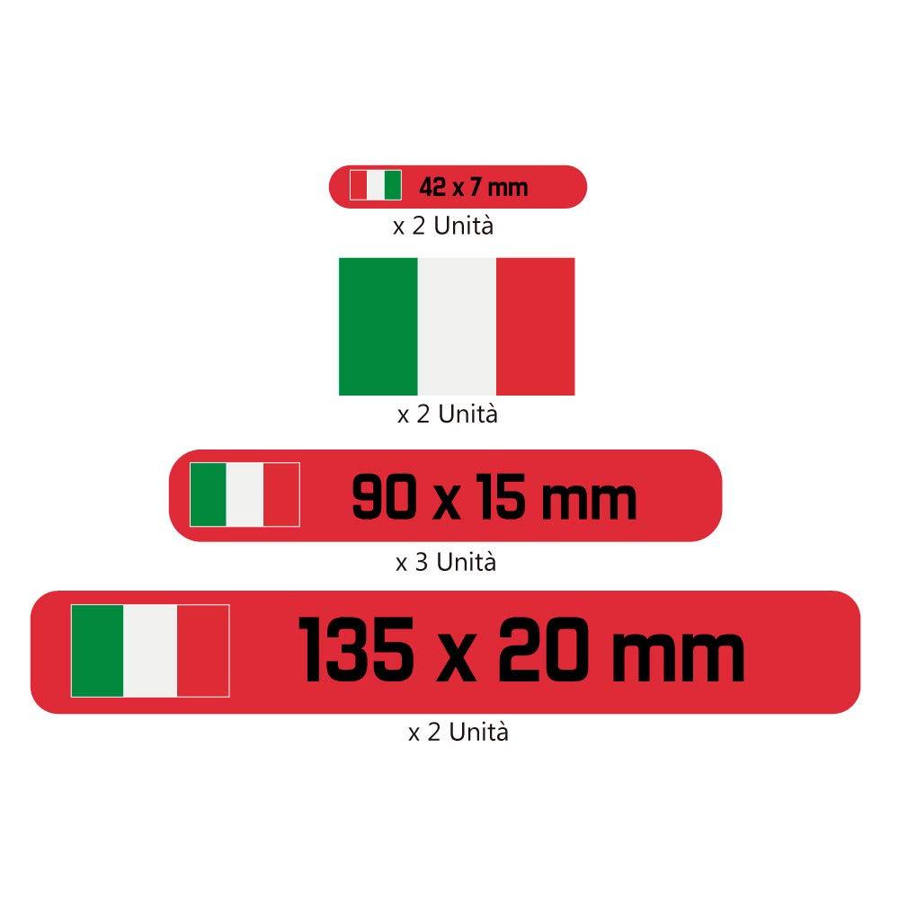 Haberdashery Online Kit 9 Adesivi Personalizzati per Moto Modello: Giallo Etichette con la Tua Bandiera e Il Tuo Testo Auto o Bici