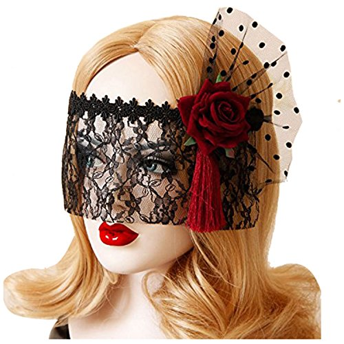 Mask Halloween - Retro Black Lace Veil Cover Headdress Funny Party Half Face Death Cos Masks Sexy Eyemask Mask - Horror Halloween Veil Face White Bear Loftus Black Women Lace Sexy Funny Adult Mas ()