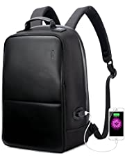 BOPAI Anti theft Backpack With USB Charging Port 15.6 Inch Laptop Leather Rucksack City Bag for Macbook Pro IPHONE Light-weight Water-resistant Backpack