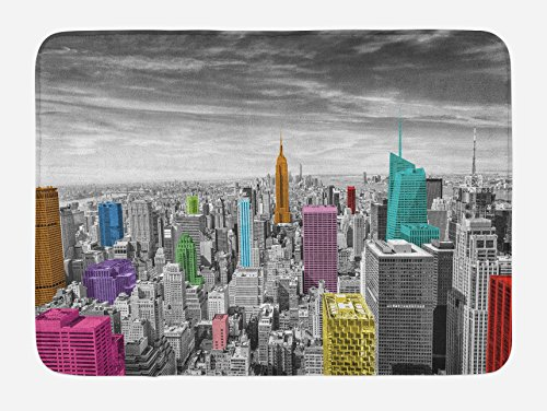 Ambesonne York Bath Mat, NYC Cityscape Monochrome Photograph with Colorful Buildings Urban Architecture, Plush Bathroom Decor Mat with Non Slip Backing, 29.5 W X 17.5 W Inches, Multicolor