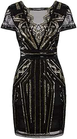 5f407b583f22e Vijiv 1920s Short Prom Dresses V Neck Inspired Sequins Cocktail Flapper  Dress