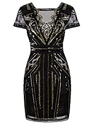 Short V-Neck Sequins Cocktail Flapper Dress